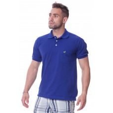 Camisa Lisa Gola Polo Azul Royal com Bolso